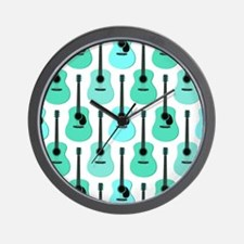 Blue Acoustic Guitars Pattern Wall Clock