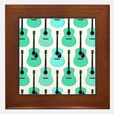 Blue Acoustic Guitars Pattern Framed Tile