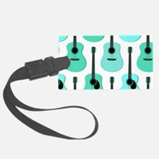 Blue Acoustic Guitars Pattern Luggage Tag