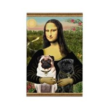 Mona & her 2 Pugs Rectangle Magnet