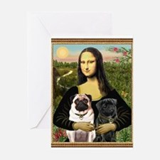 Mona & her 2 Pugs Greeting Card