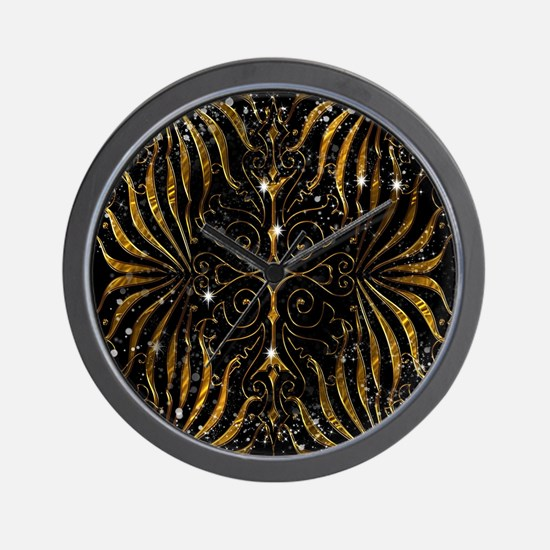 Black and Gold Victorian Sparkle Wall Clock