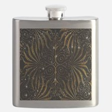 Black and Gold Victorian Sparkle Flask