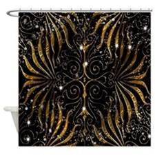 Black and Gold Victorian Sparkle Shower Curtain