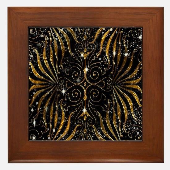 Black and Gold Victorian Sparkle Framed Tile