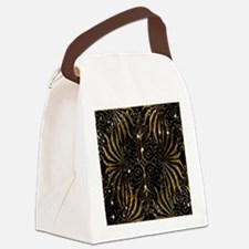 Black and Gold Victorian Sparkle Canvas Lunch Bag