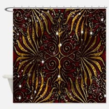 Red Gold Shower Curtains
