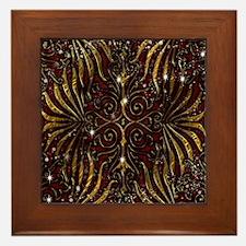 Red Gold Victorian Sparkle Framed Tile