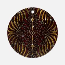 Red Gold Victorian Sparkle Round Ornament