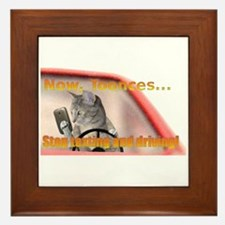 Now Toonces...Don't text and drive! Framed Tile