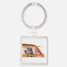 Now Toonces...Don't text and drive Square Keychain