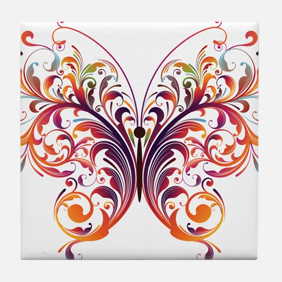 Scroll Butterfly Tile Coaster