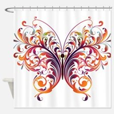 Scroll Butterfly Shower Curtain