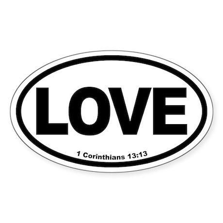 Love Oval bw Oval Sticker