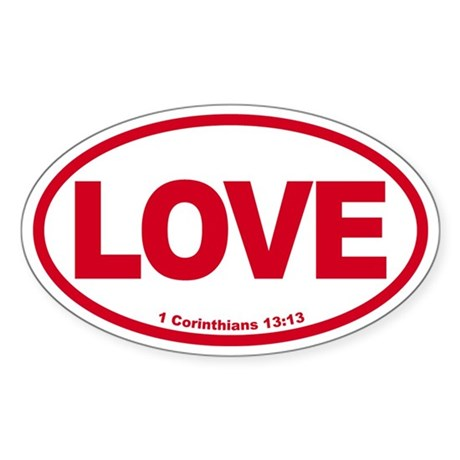 Love Oval red Oval Sticker
