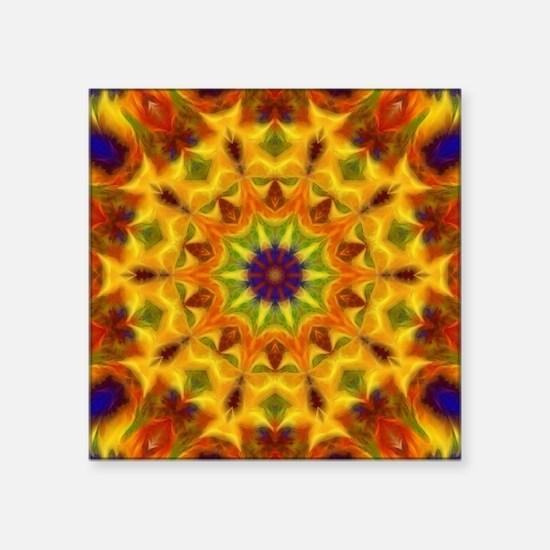 "Yellow Kaleidoscope Square Sticker 3"" x 3"""