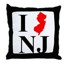 I NJ New Jersey Throw Pillow