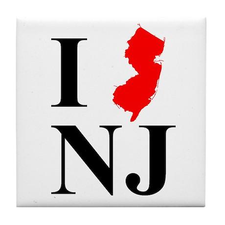 I NJ New Jersey Tile Coaster