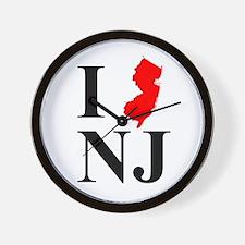 I NJ New Jersey Wall Clock