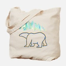 POLAR BEAR AND NORTHERN LIGHTS Tote Bag