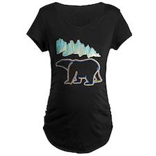 POLAR BEAR AND NORTHERN LIGHTS Maternity T-Shirt