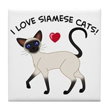 Love Siamese Seal Tile Coaster