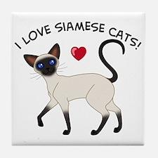 Love Siamese Seal Tile Coaster