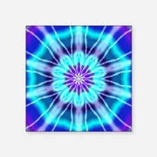 "Blue and Purple Tie Dye Square Sticker 3"" x 3"""