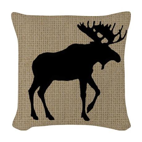 Moose on Burlap Look Woven Throw Pillow by MountainCabinDecor