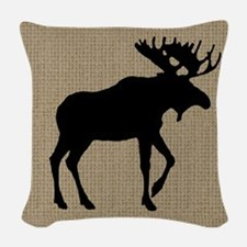 Moose on Burlap Look Woven Throw Pillow