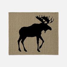 Moose on Burlap Look Throw Blanket