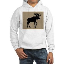 Moose on Burlap Look Hoodie