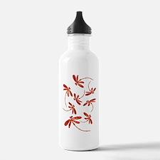 Scarlet Red Dragonflie Sports Water Bottle