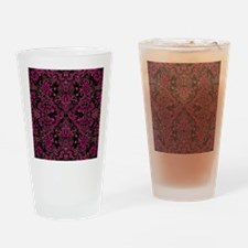 Pink Damask and Vines Drinking Glass