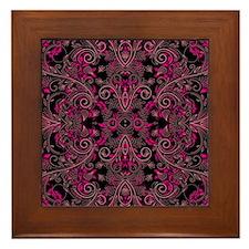 Pink Damask and Vines Framed Tile