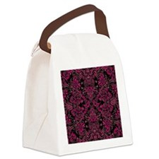 Pink Damask and Vines Canvas Lunch Bag