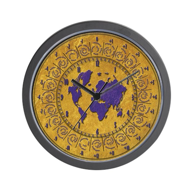 Wall clock with time zones gold texture wall clock by tematika for Time zone wall clocks australia