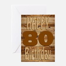 80th birthday card for a wood lover Greeting Cards