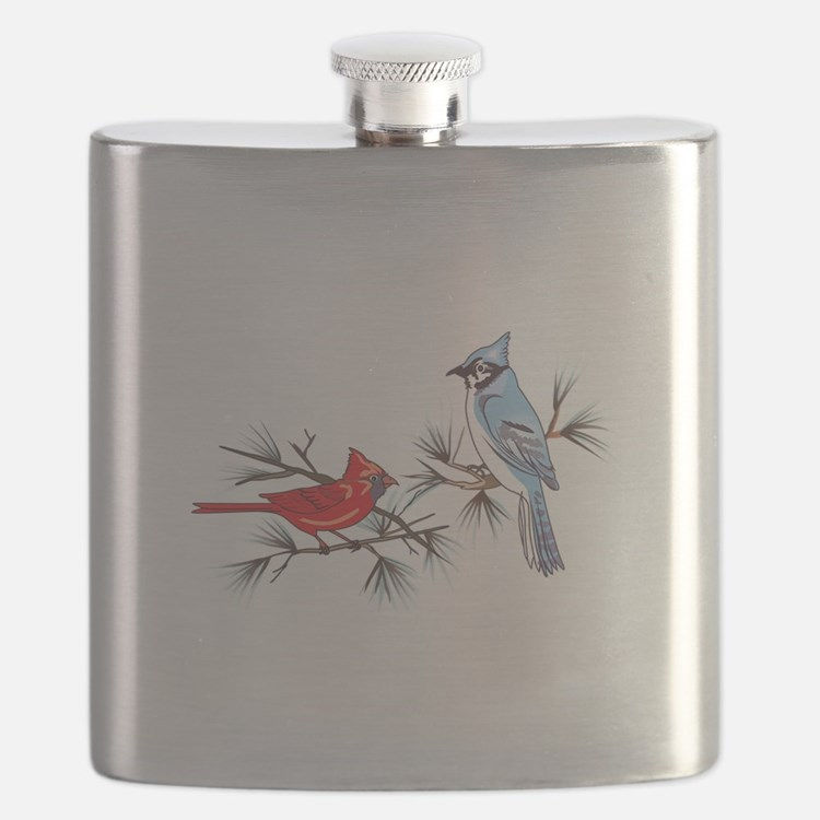 BLUEJAY AND CARDINAL Flask