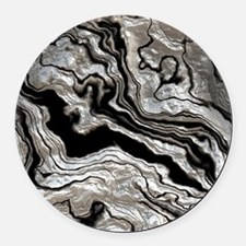 bold strong marbling metal texture Round Car Magne