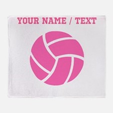 Pink Volleyball (Custom) Throw Blanket