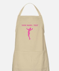 Pink Volleyball Serve Silhouette (Custom) Apron