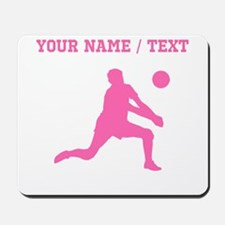 Pink Volleyball Set Silhouette (Custom) Mousepad