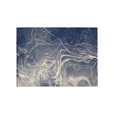 Ghostly Indigo smokey texture 5'x7'Area Rug