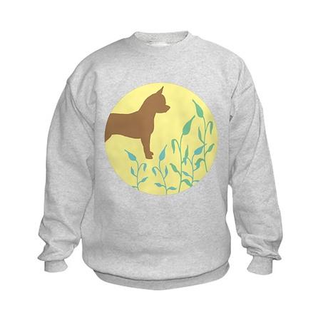 Chihuahua With Leaves Kids Sweatshirt