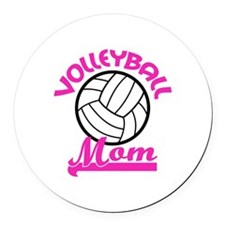 VOLLEYBALL MOM Round Car Magnet