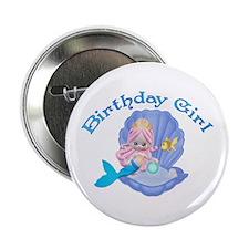 Lil Mermaid Birthday Girl Button