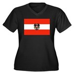 Austrian Flag (2) Women's Plus Size V-Neck Dark T-