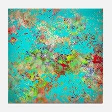 Abstract Garden with Aqua Splash Tile Coaster