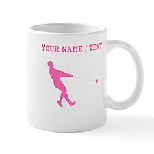 Pink Hammer Throw Silhouette (Custom) Mugs